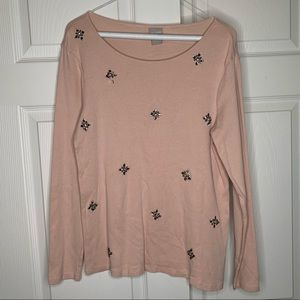 Chico's Cotton Long Sleeve Top with beaded detail